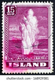 ICELAND - CIRCA 1938 a stamp printed in the Iceland shows Geyser, Natural Phenomenon, circa 1938