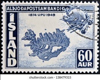 ICELAND - CIRCA 1949: A stamp printed in Iceland shows map of Iceland, circa 1949