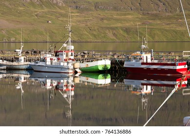 Iceland circa August 2017,boat moored in the enchanting fjord of Seydisfjordur