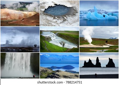Iceland, collage of nine pictures