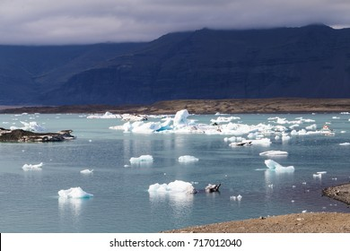 Iceland destination - famous icelandic ice lagoon, where ice goes downhill to reach ocean.