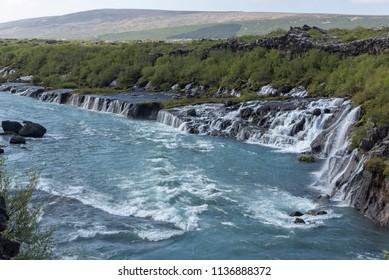Iceland Double Waterfall Hraunfossar and the Barnafoss