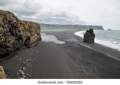 Iceland Dyrholaey  Reynisfjara Black sand beach summer