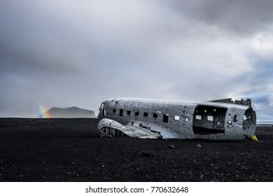 Iceland Europe - October 15 2015 - Sólheimasandur Plane Crash Iceland, The eerie wreckage of a crashed U.S. Navy aircraft abandoned on an Icelandic beach 40 years ago