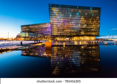 Reykjavík, Iceland, February 2017 : Harpa Concert Hall view during blue hour which is a concert hall and conference centre
