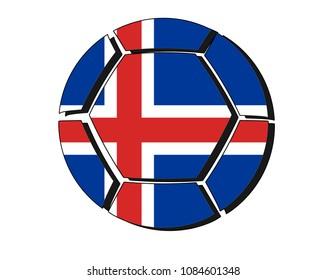 Iceland flag on football ball, 2018 Championship