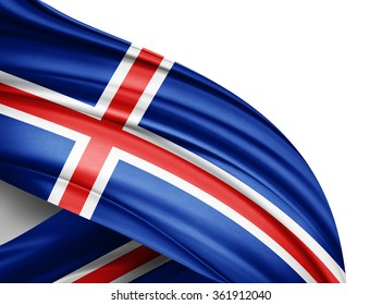 Iceland  flag of silk with copyspace for your text or images and white background