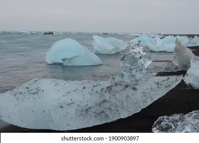 Iceland glacier and lake with massive pieces of melting ice