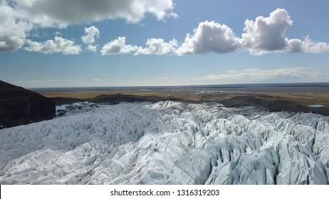 Iceland Glacier Svinafellsjokul in Southern Iceland, drone aerial footage