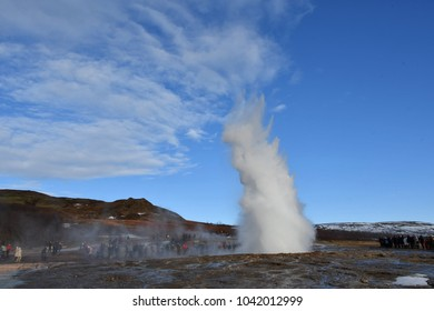 Iceland Golden circle geysir winter