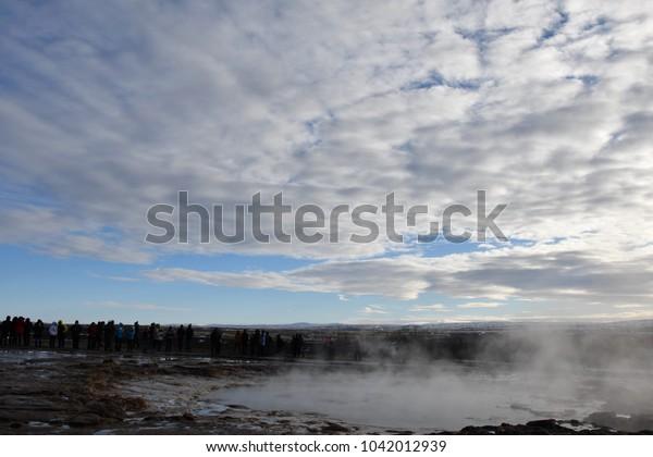 Iceland Golden circle geysir winter