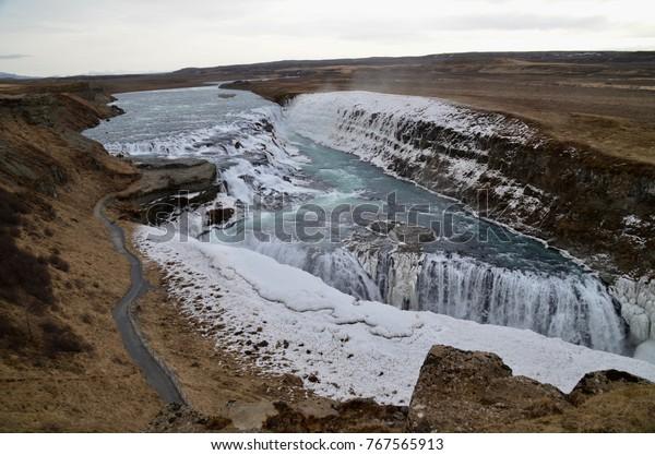 Iceland Golden circle Gullfoss waterfall winter