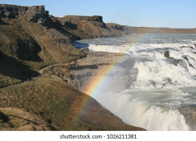Iceland, Gullfoss waterfall. Located in the canyon of Olfusa river in southwest Iceland,  one of the most popular tourist attractions in Iceland.