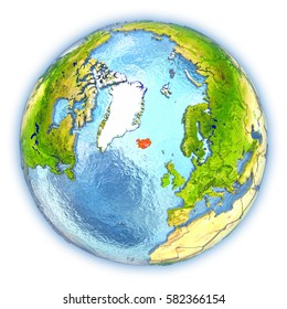 Iceland map images stock photos vectors shutterstock iceland highlighted in red on 3d globe with detailed planet surface and blue watery oceans gumiabroncs Gallery