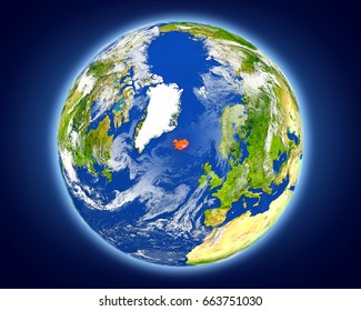 Iceland highlighted in red on planet Earth. 3D illustration with detailed planet surface. Elements of this image furnished by NASA.