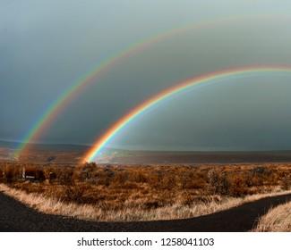 Iceland – Hraunfossar double rainbow