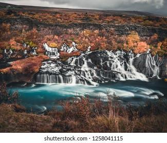 Iceland - Hraunfossar lava rock waterfalls