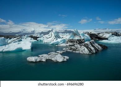 Iceland - Iceberg landscape full of drifting ice floes on glacial lake