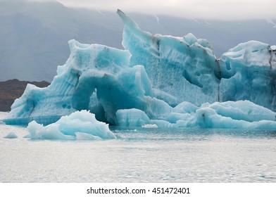 Iceland: icebergs in the Jokulsarlon glacier lagoon on August 19, 2012. Jokulsarlon is a glacial lake in Vatnajokull National Park developed after the glacier receded from the edge of Atlantic Ocean