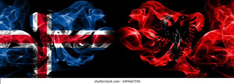 Iceland, Icelandic, Albania, Albanian competition thick colorful smoky flags. European football qualifications games