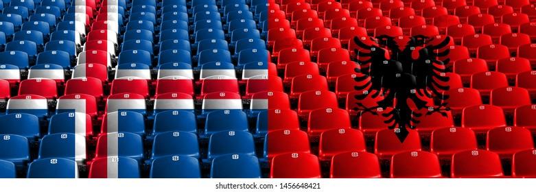 Iceland, Icelandic, Albania, Albanian stadium seats concept. European football qualifications games.