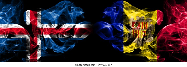 Iceland, Icelandic, Andorra, Andorran competition thick colorful smoky flags. European football qualifications games