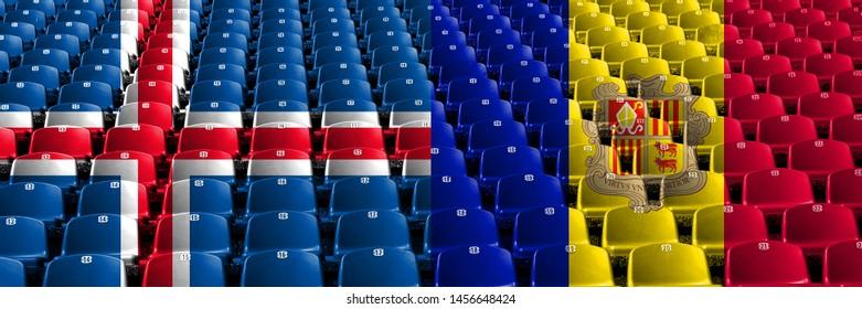 Iceland, Icelandic, Andorra, Andorran stadium seats concept. European football qualifications games.