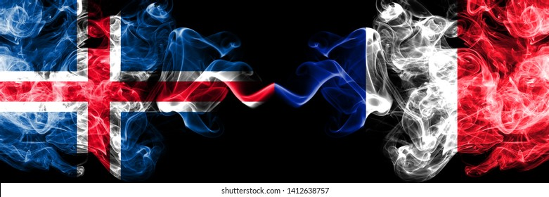Iceland, Icelandic, France, French competition thick colorful smoky flags. European football qualifications games