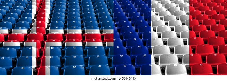 Iceland, Icelandic, France, French stadium seats concept. European football qualifications games.