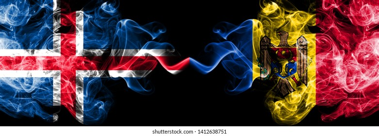 Iceland, Icelandic, Moldova, Moldovan competition thick colorful smoky flags. European football qualifications games