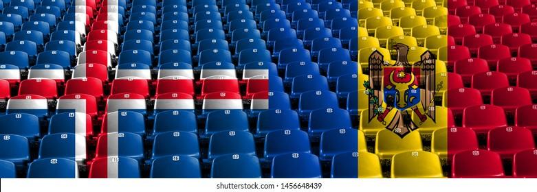 Iceland, Icelandic, Moldova, Moldovan stadium seats concept. European football qualifications games.