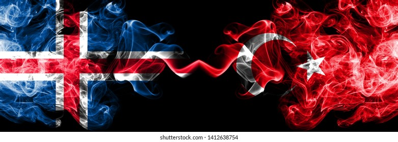 Iceland, Icelandic, Turkey, Turkish competition thick colorful smoky flags. European football qualifications games
