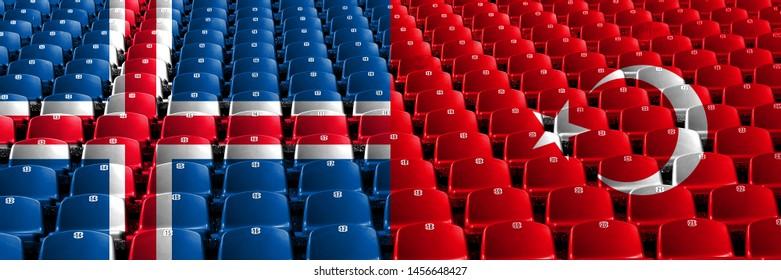 Iceland, Icelandic, Turkey, Turkish, flip stadium seats concept. European football qualifications games.