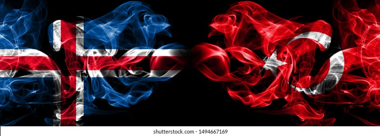 Iceland, Icelandic, Turkey, Turkish, flip competition thick colorful smoky flags. European football qualifications games
