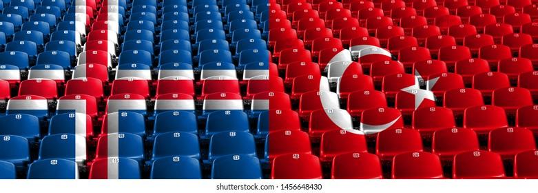 Iceland, Icelandic, Turkey, Turkish stadium seats concept. European football qualifications games.