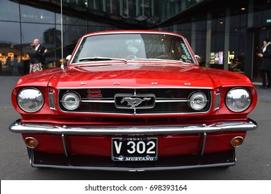 ICELAND, JULY 21, 2017: 1964 Ford Mustang front view in red color;