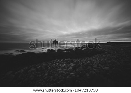 Iceland landscape black and white