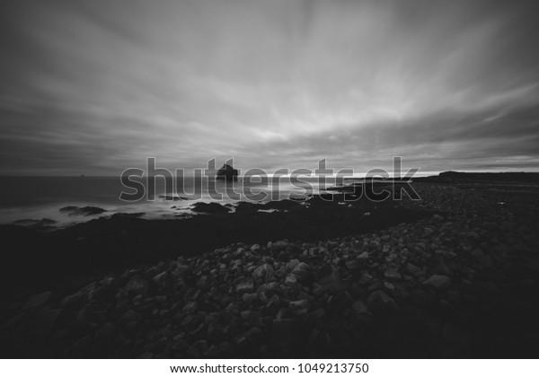 Iceland landscape black and white