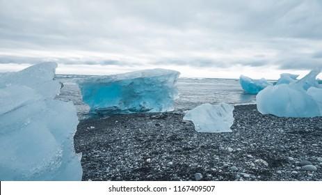 Iceland landscape. Iceberg in Jokulsarlon glacial lagoon, near the glacier Vatnajokull. Tourist attraction, panoramic view.