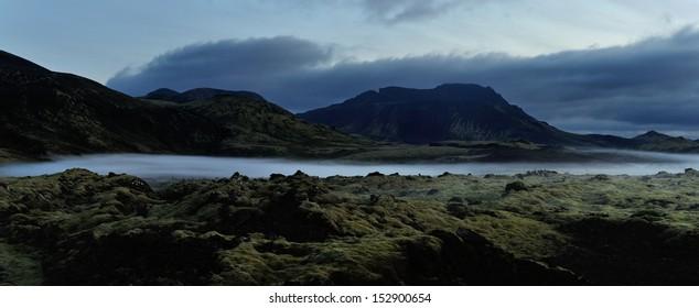 Iceland landscape at night