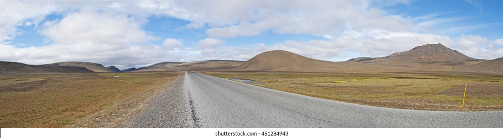 Iceland: landscape from the Route 1 on August 20, 2012. Route 1 or the Ring Road, it's a national road that runs around the island and through beautiful landscapes, its total length is 1332 kilometers