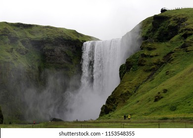 Iceland landscape with waterfall