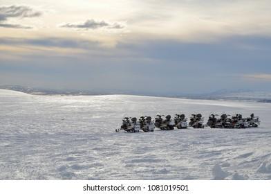 Iceland Langjokull golden circle snowmobile winter
