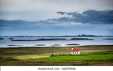 Iceland, lonely red church in the westfjords
