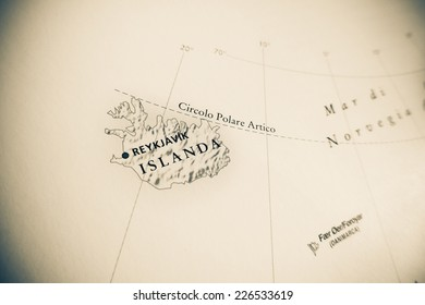 Iceland map (Geographical view altered on colors/perspective and focus on the edge. Names can be partial or incomplete)