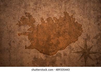 iceland map on a old vintage crack paper background