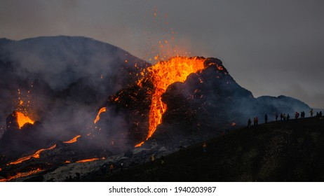 Grindavík, Iceland - March 20th 2021: An active volcanic crater in Mt Fagradalsfjall, Southwest Iceland. The dramatic eruption is ongoing as of March 21st.