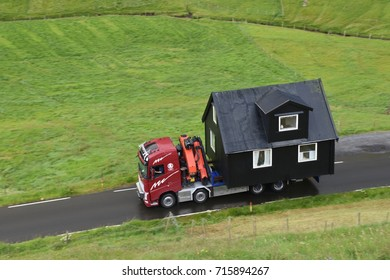 Iceland, near city of Rekjavik, August 2017 : prefabricated house transport, on August 2017 in Iceland.