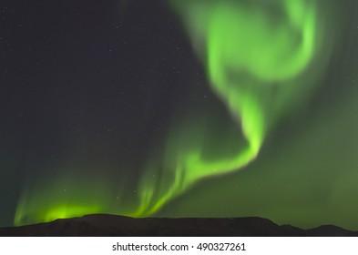 Iceland northern lights, aurora borealis near reykjavik in autumn.