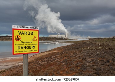 Iceland - October 1, 2017 : Waste water from geothermal power plant located at Reykjanes peninsula in Iceland.